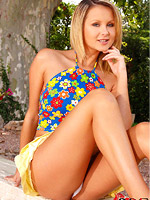 Hot natural and horny blonde posing outside from DDF Prod