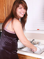 Sexy wife masturbating in her kitchen from All Over 30