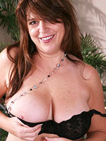 Horny mature with big natural juggs in black stockings from All Over 30