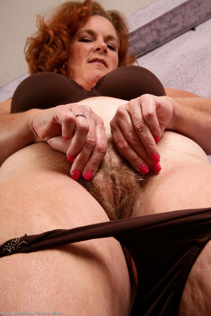My milf exposed busty wife in red stockings with dildo 4