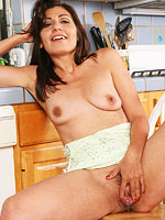 Hot amateur housewife shows hairy twat in the kitchen from All Over 30