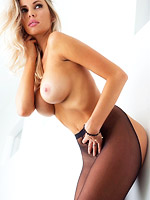 Horny busty blonde in sexy lingerie from Playboy Cyber Club