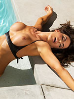 Horny exotic babe poolside stripping from Playboy Cyber Club