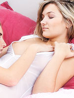 Hot horny lesbos tease in bed from Wow Girls