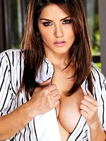 Sunny leone topless wearing a tie