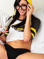 Naughty nerd catie minx in black panties